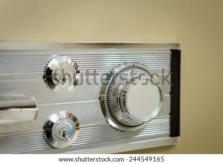 The mechanism of an old safe in close-up - stock photo