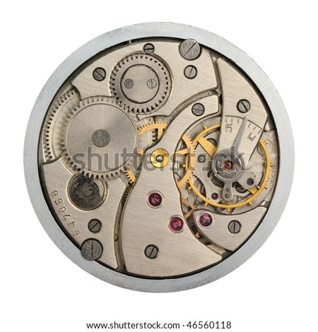 The mechanism of analog hours. A photo close up - stock photo