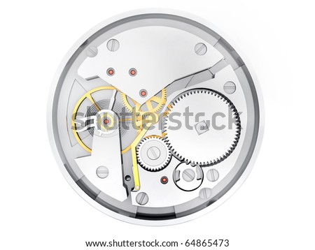 The mechanism of hours with gears and springs isolated on a white background