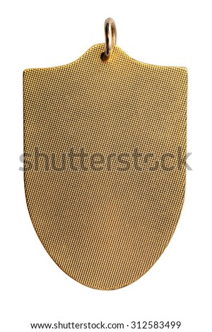 The medallion in the shape of a shield with a fine pattern in th - stock photo