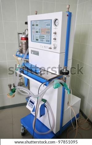 The medical device for artificial (compulsory) ventilation of lungs of the person and for anesthesia of the patient. - stock photo