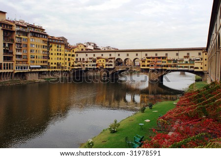 The medieval bridge in Florence city, Italy.