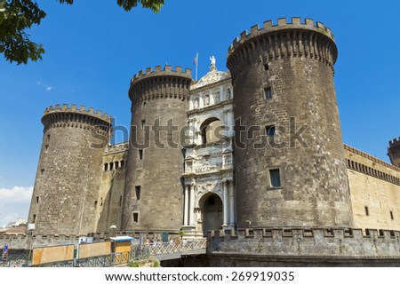 The medieval castle of Maschio Angioino or Castel Nuovo (New Castle), Naples, Italy. - stock photo