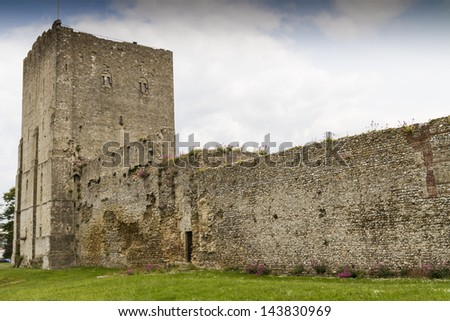 The medieval castle of Portchester is set within the walls of a 3rd-century Roman fort. The great Tower was built in the twelth century and a royal residence was added in the 1390s - stock photo