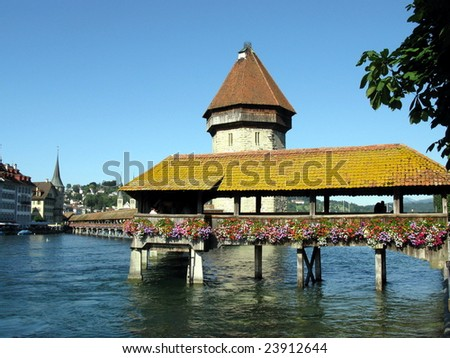 The medieval Chapel bridge and lake Lucerne. Luzern. Switzerland.