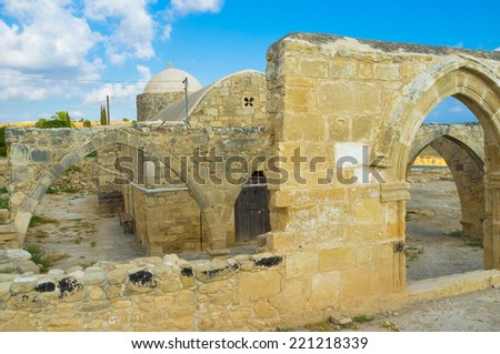 The medieval Church of Panagia Katholiki was surrounded by two levels of arched terraces, those are ruined nowadays, Kouklia, Cyprus. - stock photo