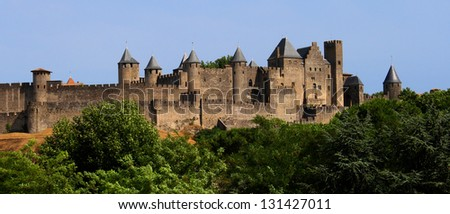 The medieval city of Carcassonne, France. - stock photo