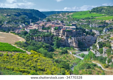 The medieval city of Minerve in the Minervois region of France