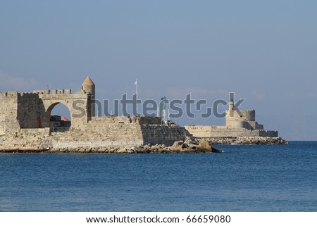 the medieval fortress Agios Nikolaos at the harbour of Rhodes, Greece