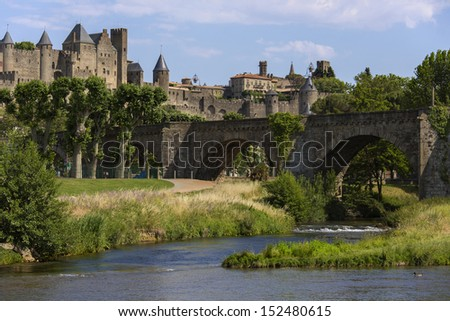 The medieval fortress and walled city of Carcassone in southwest France. Founded by the Visigoths in the 5th century, it was restored in 1853 and is now a UNESCO World Heritage Site. - stock photo