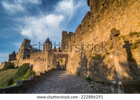 The medieval fortress and walled city of Carcassonne in southwest France, Europe - stock photo