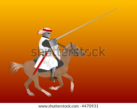 The medieval knight on a horse - stock photo