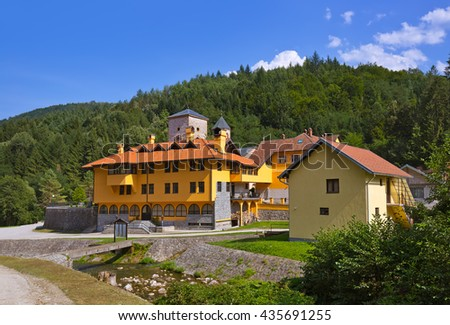 The medieval monastery Raca - Serbia - architecture travel background - stock photo
