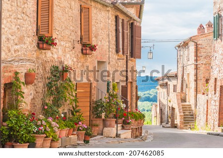 The medieval old town in Tuscany, Italy - stock photo