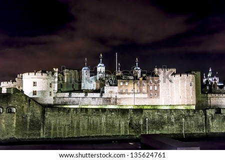 The medieval prison the Tower of London at night. London, Great Britain - stock photo