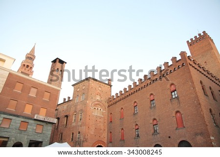 The medieval town hall palace in Cremona Lombardy Italy - stock photo