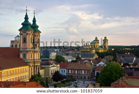 The medieval town of Eger taken from the ramparts of the Eger fort. - stock photo