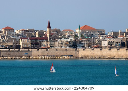 The mediterranean historic city of Akko in north Israel - stock photo