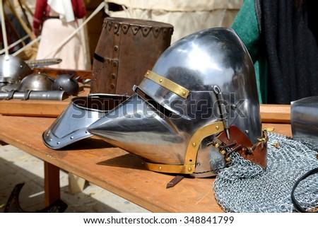 The Medival Knights helmet in Mdina, Malta - stock photo