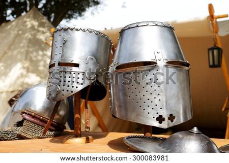The Medival Knights helmets in Mdina, Malta - stock photo