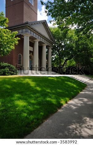 The Memorial Church in Harvard Yard - stock photo