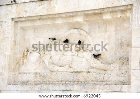 The memorial of the Unknown Soldier, in front of the Greek parliament in Athens - stock photo