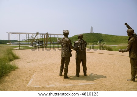 The memorial to the aviation pioneer Orville and Wilbur Wright in Kill Devil Hill, North Carolina - stock photo