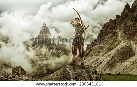 The men's archery target - the high mountain - stock photo