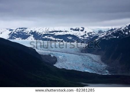 The Mendenhall Glacier near Juneau, Alaska - stock photo