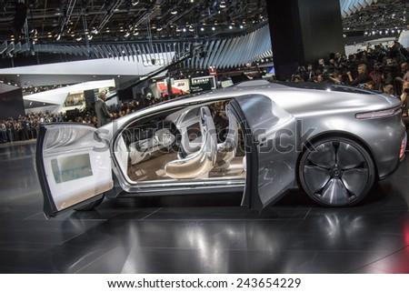 The Mercedes-Benz new concept F015 Luxury in Motion at The North American International Auto Show January 12, 2015 in Detroit, Michigan.