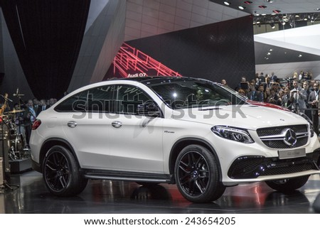 The Mercedes-Benz new 2016 GLE 63 coupe AMG Sport at The North American International Auto Show January 12, 2015 in Detroit, Michigan. - stock photo