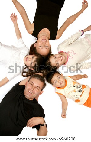 The Merry family rests upon white background.