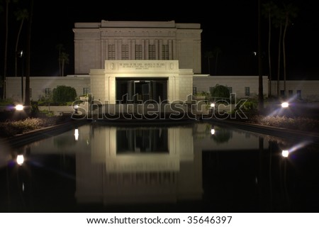The Mesa Arizona temple of the Church of Jesus Christ of Latter-day Saints - stock photo