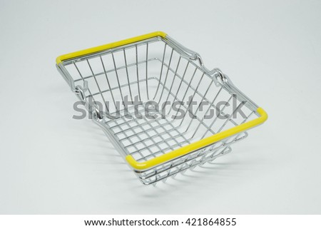 The metal basket with white background.