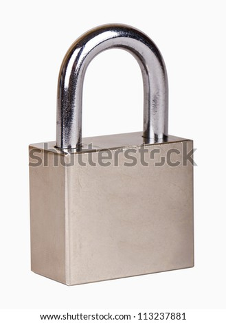 The metal closed padlock isolated on white - stock photo