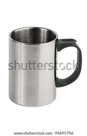 The metal cup with a plastic pen on  white background