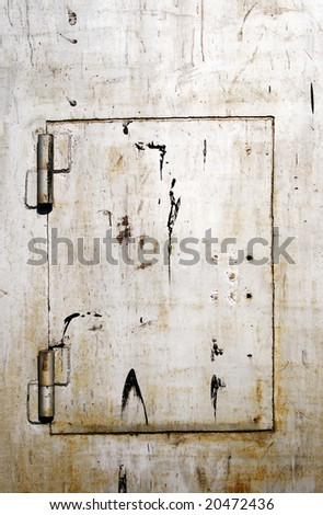 The metal door is closed on the lock, as a background
