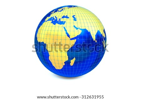 The metal globe displays the golden continent of Africa and Europe with latitude and longitude isolated on the white background. - stock photo