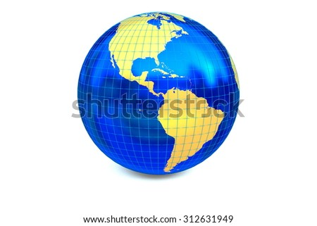 The metal globe displays the golden continent of America with latitude and longitude isolated on the white background. - stock photo