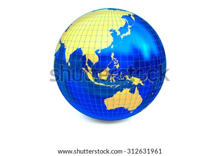 The metal globe displays the golden continent with latitude and longitude isolated on the white background. - stock photo