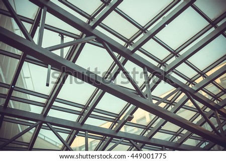 the metal structure of the glass roof