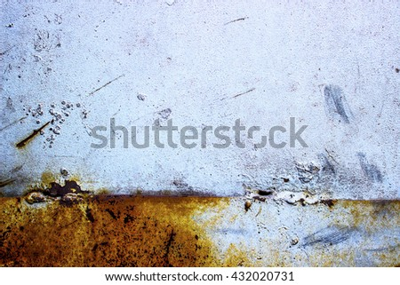 The metal surface with bolts covered with silver paint - stock photo