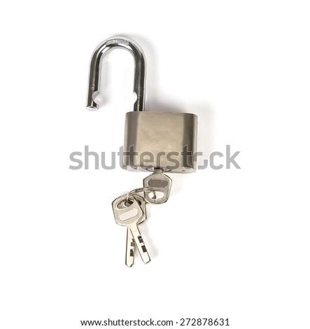the Metalic padlock with the key on white background - stock photo