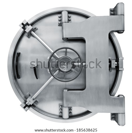 The metallic  bank vault door on a white background isolated on white with clipping path - stock photo