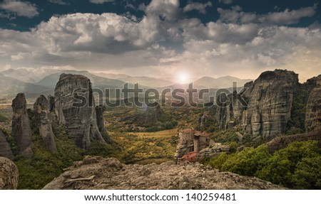 The Meteora complex in Greece - stock photo