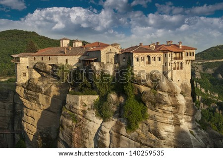 The Meteora complex in Greece - The Varlaam monastery - stock photo