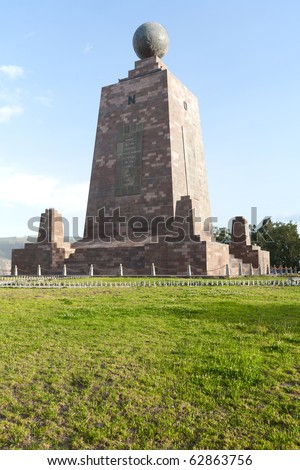 The 30-meter-tall monument, built between 1979 and 1982, was constructed to mark the point where the equator passes through the country in the geodetic datum in use in Ecuador at that time. - stock photo