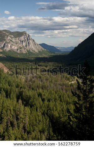 The Methow Valley, Washington. A view of the historic Methow Valley from the road to Harts Pass in the cascade mountain range. - stock photo