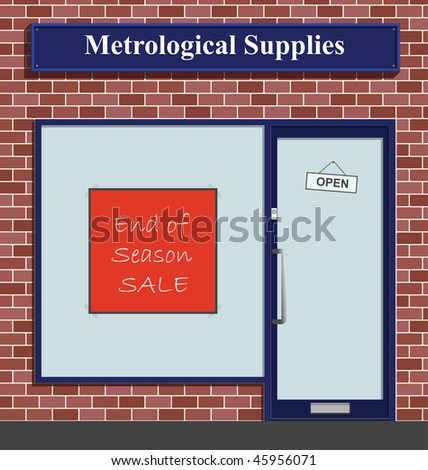 The Metrological Supplies shop has an end of season sale - stock photo