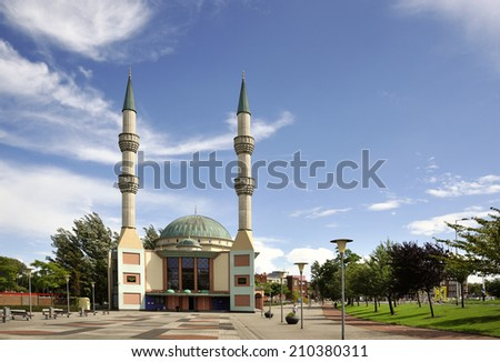 The Mevlana Mosque build in Rotterdam in 2001 Dutch-Turkish community. The Minarets are 42m high - stock photo